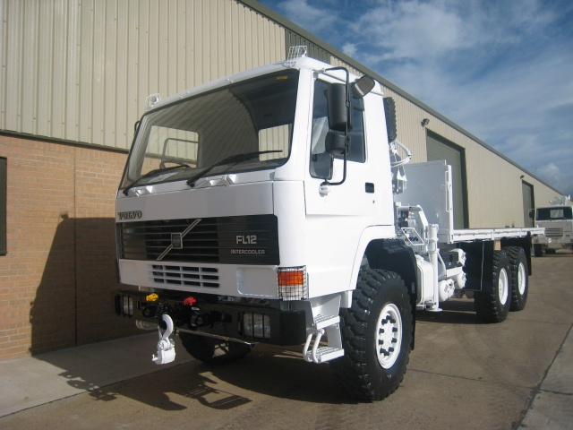 Volvo FL12 6x6 cargo platforms with Hiab 115-1 crane for sale | military vehicles
