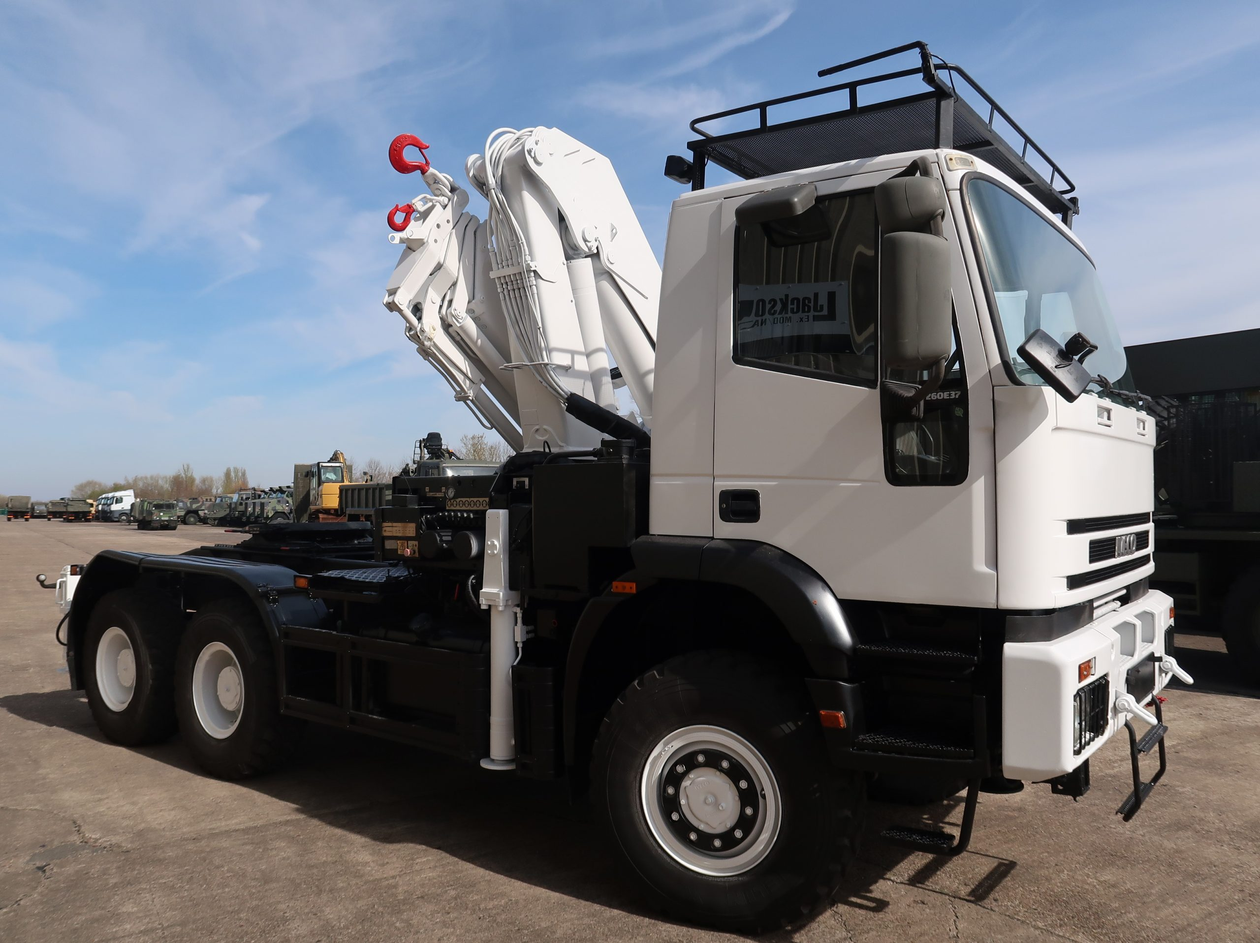 Iveco Eurotrakker 260E37 6x6 LHD tractor with crane 50317   used military vehicles, MOD surplus for sale