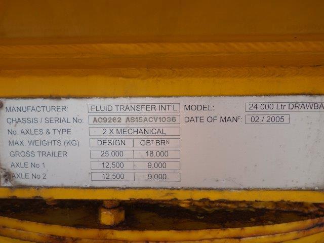24,000 Litre Fluid  tanker trailer  military for sale