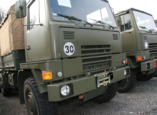 WAS SOLD Bedford TM 4x4 Drop Side Cargo with canopy and pto winch