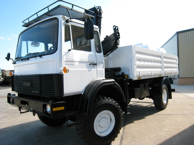 Iveco Magirus 110-16 4x4  truck with crane HIAB 965-90 for sale | military vehicles
