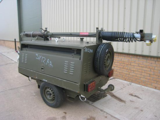 Hi-Lite Towed Lighting Tower 5.5 KVA  for sale . The UK MOD Direct Sales