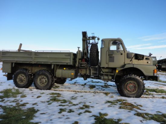 Volvo N10 6x6 LHD drop side cargo truck  with Fassi F75.21 crane | used military vehicles, MOD surplus for sale