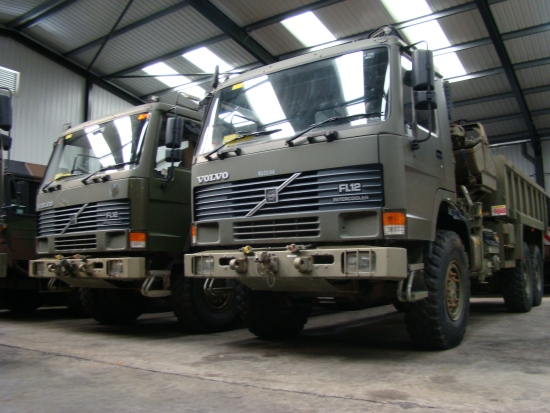 Volvo FL12 6x6 Tipper with clam sheel grab for sale | military vehicles