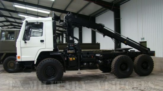 Volvo FL12 6x6 tractor unit with crane Hiab 115-1  for sale . The UK MOD Direct Sales