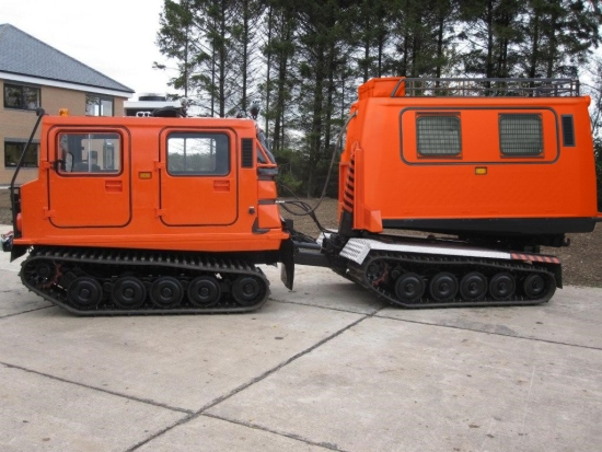 Hagglund BV206 new drops system with flat bed body and personnel body for sale | military vehicles