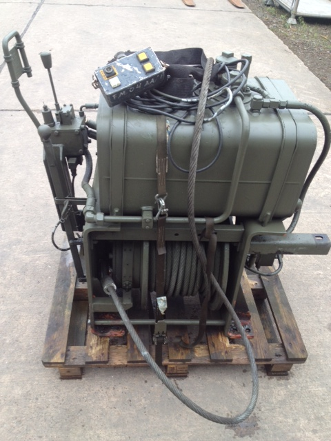 Rotzler 11.5 t hydraulic winch with oil tank and wonder lead for sale | military vehicles