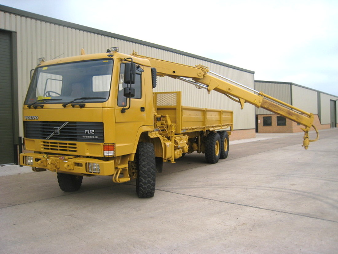 Volvo FL12 6x6  drop side cargo truck with Hiab crane & grab for sale | military vehicles
