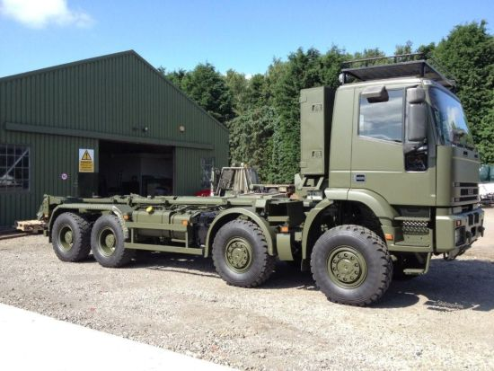 Iveco 410E42 EUROTRAKKER  8X8 LHD hook loader with multilift system  military for sale