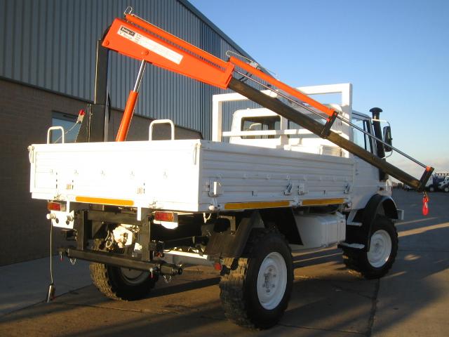 Mercedes Unimog U1300L crane truck   used military vehicles, MOD surplus for sale