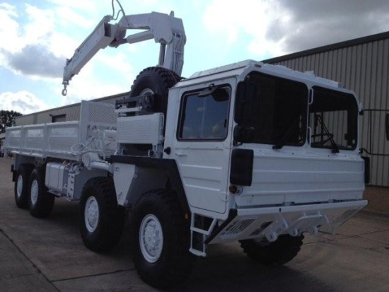 Man 8x8 CAT A1 cargo truck with HIAB Crane  for sale . The UK MOD Direct Sales