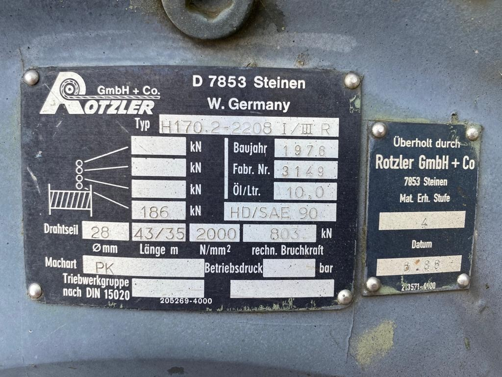 Rotzler H170 18,600 Kg Hydraulic winch for sale