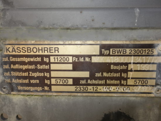 Kassbohrer 2 axle draw bar cargo trailer for sale