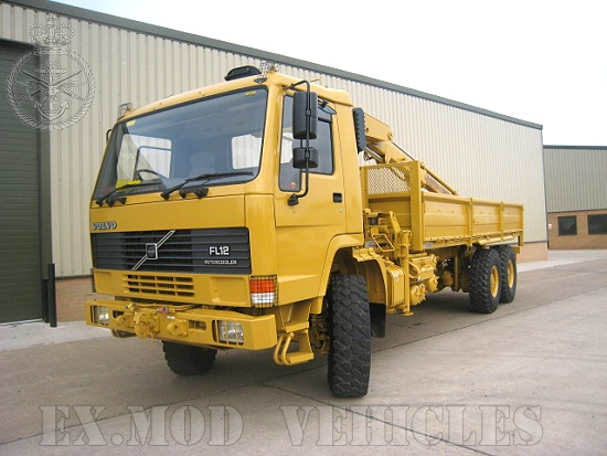 Volvo FL12 6x6  drop side cargo truck with Hiab crane & grab | used military vehicles for sale