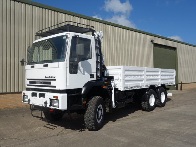 Iveco 260E37 Eurotrakker LHD 6x6 Drop Side truck with HMF crane for sale | military vehicles