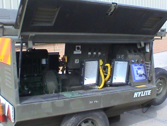 Hi-Lite Towed Lighting Tower 5.5 KVA  for sale. The UK MOD Direct Sales