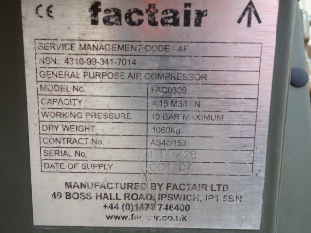 5 Factair General Purpose Air Compressors for sale