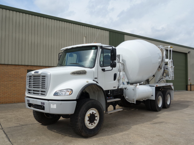 Just arrived Freightliner 6x6 LHD concrete mixer and Iveco Trakker 6x6 RHD crane truck