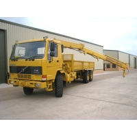 Volvo FL12 6x6  drop side cargo truck with Hiab crane & grab